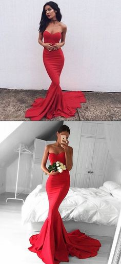 2017 red long prom dress, mermaid long prom dress with train, strapless mermaid long formal evening dress, wedding reception dress, red mermaid long bridesmaid dress