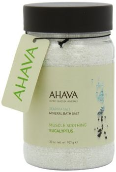 AHAVA - Deadsea Salt Mineral Bath Salt Muscle Soothing Eucalyptus by AHAVA. $21.00. Infused with a therapeutic blend of eucalyptus essentials oils to rejuvenate both body and mind. Allergy tested. Paraben free. These skin-energizing Dead Sea salt crystals are 100% natural and packed with healthy minerals. Relaxes muscles and joints skin is left feeling soft, smooth and refreshingly hydrated. Infused with a therapeutic blend of Eucalyptus essentials oils to rejuven...