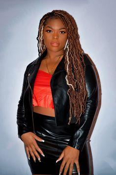 Brown skin girl rocking brown locs #locstyles #locs #brownskingirl #brownskinmakeup #black #leatherjacketoutfit I Got You, Like You, Brown Skin Makeup, Leather Jacket Outfits, Brown Skin Girls, Brand Management, Powerful Women, Locs, Photoshoot