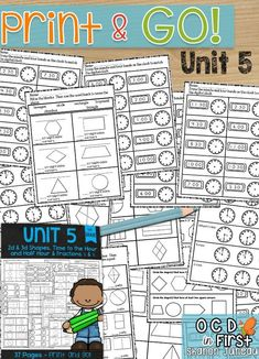 Math Worksheets 1st Grade  Place Value    Maths  Math worksheets and     These Print and Go Math Sheets will help you with 2d shapes  halves and  quarters  and time to the hour and half hour