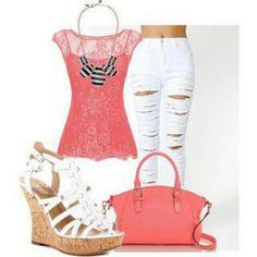 Coral n white