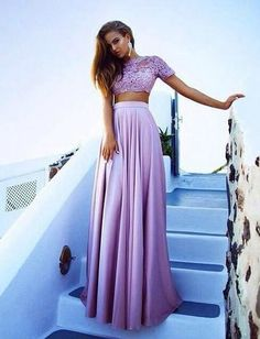 Appliques Stretch Satin Two Pieces Prom Dresses 2017