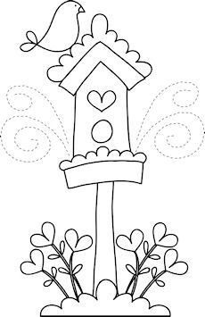 Love the birdhouse Hand Embroidery Patterns, Applique Patterns, Applique Designs, Quilt Patterns, Embroidery Designs, Wool Applique, Embroidery Applique, Cross Stitch Embroidery, Quilting