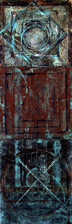 Ancient Artifacts, the Corrosion of Metal Relics, 2010  acrylic wash, monotype and rice paper on canvas, 24 x 8 inches  Pictured on page 93 of Elemental, Abstract Art from Two Perspectives, 2011