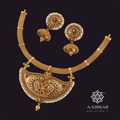 Punkah Necklace : A corded belt with Manipuri loops forms a brace for an elaborate gold punkah that's replete with delicate fretwork, enamelled touches, and a seed pearl border. Once the stuff of Nawabs and Maharajahs, the ornate but functional fan is recreated in pure 22K gold as a rich necklace that speaks the language of royalty with reserve. Another in our 'cool tradition' series of ornaments, it comes with matched South Indian jhumkas