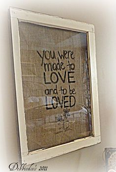 vintage frame with burlap