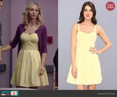 Caroline's yellow woven top dress and purple cardigan on The Vampire Diaries.  Outfit Details: http://wornontv.net/40365/ #TheVampireDiaries