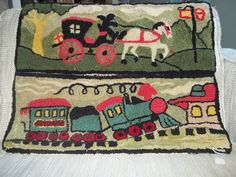 Vtg wool hooked rug tapestry  Train Stagecoach by Nalishouse, $95.00