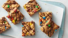 Inspired by our fan-favorite Monster Cookies, these quick and easy bars are a treat that everyone can get behind. Top it all off with an irresistible chocolate drizzle that will take this recipe from that's good! to can we have seconds? Easy To Make Desserts, Delicious Desserts, Dessert Recipes, Bar Recipes, Candy Recipes, Free Recipes, Cookie Recipes, Pillsbury Cookie Dough, Cookie Dough Ingredients