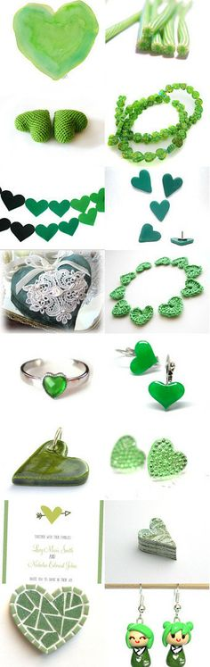 Green Hearts Galore by Jennifer Burrell on Etsy--Pinned with TreasuryPin.com