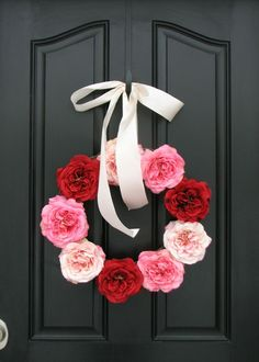 Valentine Wreath Valentine's Day Decorations Pink by twoinspireyou, $90.00