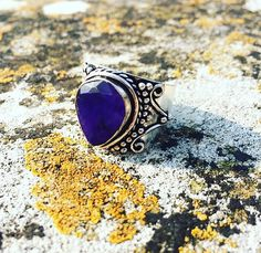 Sapphire statement ring, chunky ring, goth grunge, alternative sterling silver, 925 silver