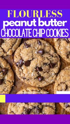 Gluten Free Cookies, Gluten Free Desserts, Easy Desserts, Gluten Free Recipes, Baking Recipes, Cookie Recipes, Dessert Recipes, Flourless Chocolate Chip Cookies, Gluten Free Chocolate