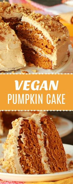 Perfectly moist and utterly delicious vegan pumpkin cake with a cinnamon buttercream frosting. Spicy and colorful and ideal for any special occasion! Healthy Vegan Dessert, Cake Vegan, Vegan Dessert Recipes, Vegan Treats, Vegan Foods, Vegan Thanksgiving Desserts, Pumpkin Cake Recipes, Pumpkin Dessert, Vegan Pumpkin Cake Recipe