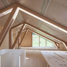 """Joinery firm Anton Mohr won the """"Vorarlberger holzbau_kunst"""" timber construction award for the design of its imaginative yet understated timber structure Timber Architecture, Timber Roof, Fibreglass Roof, Timber Structure, Roof Styles, Roof Repair, Roof Design, Wood Construction, Outdoor Living"""