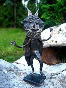 Kovaný čertík vo fraku / KatarinaKondacova - SAShE.sk - Handmade Socha Garden Sculpture, Lion Sculpture, Sculptures, Statue, Outdoor Decor, Handmade, Home Decor, Art, Art Background