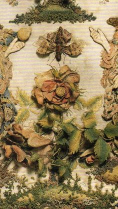 4)  Two Ladies Personifying Taste and Touch  c. Third quarter 17th century.  British.  DETAIL: Rose. Centered between the two ladies.