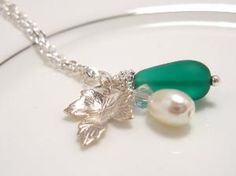 Teal Sea Glass Necklace with silver leaf & Pearl by SeaglassGallery