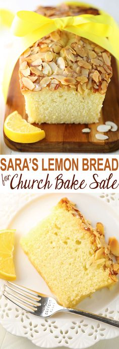 Sara's Lemon Bread for Church Bake Sale is a homemade quick bread topped with toasted almonds and a delightful lemony glaze. Get the recipe on http://MomLovesBaking.com