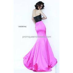 Black Fuchsia Sherri Hill 32158 Strapless 2016 Long Prom Dress ❤ liked on Polyvore featuring dresses, prom dresses, strapless prom dresses, fuschia long dresses, fuchsia dress and sherri hill