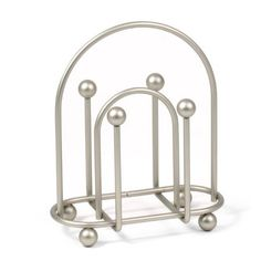 Holds napkins on both sides of the center arch, while the arch functions as an integrated handle, making the metal napkin holder easy to carry from the kitchen to the dining room or patio, even with your hands full. Features sturdy steel construction. Spectrum is a company that does the small stuff great!