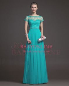 Free Shipping Teal Tulle Long Prom Dresses 2014 New Arrival Formal Evening Dress With Short Sleeves RS9633