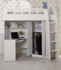 Corner desk under loft bed with dresser and bookcase on each side