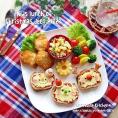 クリスマスデコピザdeお子様ランチプレート Christmas Pizza, Christmas Breakfast, Cute Food, Good Food, Baby Breakfast, Kids Plates, Food Decoration, Food Cravings, Baby Food Recipes