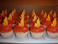 Fire/Flame Fondant Cupcake or Cookie Toppers- Edible- 2 DOZEN. $25.95, via Etsy. This topper would be neat with a mockingjay placed in front/on top.