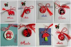 1 martie, March 1st - Mărțișor, Little March -  Romanian tradition - people give each other artistic trinkets with red and white ribbons to be worn like pins