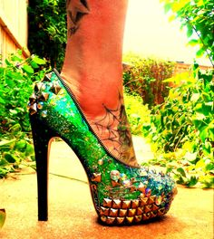 "ZombiePeepshow ""Wicked"" platform pumps. They have an amazing iridescent/holographic finish."