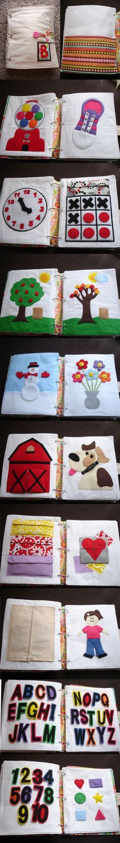 No tutorials or links that lead anywhere but still great examples of quiet book pages. Busy Book Pattern, Book Ideas, Sewing Quiet Book, No Sew Quiet Book, … Diy Quiet Books, Baby Quiet Book, Felt Quiet Books, Baby Sewing, Sewing For Kids, Diy For Kids, Baby Crafts, Felt Crafts, Baby Toys
