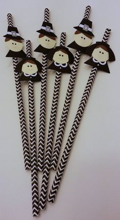 Thanksgiving table decor  set of 6 black pilgram straws by 1235PaperClipLane, $9.00... Shut the front door. I NEED THESE!!!