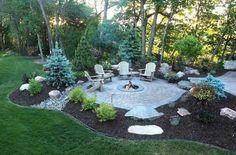 Outside Fire Pits, Cool Fire Pits, Backyard Patio Designs, Backyard Landscaping, Backyard Seating, Fire Pit Landscaping Ideas, Backyard Design With Pool, Backyard Plan, Large Backyard