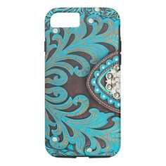Turquoise Tooled Floral Leather Bling Diamond Prin iPhone 8/7 Case