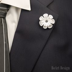 Lapel Pin/White Flower Lapel Pin with Swarovski Silver Night Crystal/Lapel Flower/Mens Lapel Flower/Wedding Accessories/Brooch by BoArtDesign on Etsy