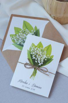 zaproszenia ślubne z konwaliami w rustykalnym stylu z kopertą eco Brides, Tableware, Dinnerware, Tablewares, Wedding Bride, Bridal, Dishes, Place Settings, Bride