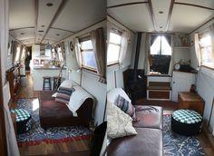 The Fashion Diaries -Boat Life - narrowboat Small Space Living, Small Spaces, Living Spaces, Canal Boat Interior, Barge Interior, Canal Barge, Narrowboat Interiors, Living On A Boat, Make A Boat