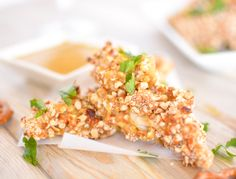 Pretzel-Crusted Chicken Tenders with Honey Mustard - If love to try to make this paleo