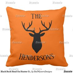 Black Buck Head On Hunter Orange Throw Pillow