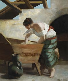 Philippe Pavy, A washerwoman ..........I am grateful for the correction by Laurence of LauChan Art, She informed me that the woman is actually kneeling bread dough in a pétrin, then  the lid of the trough would be closed, left to rise........and bake.