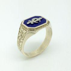 Masonic Gold Ring  Men's Gold Ring  10K by EstateJewelryMama