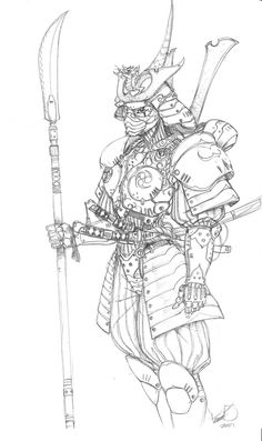 Warriors in art: Samurai mech suit by Tomas Morejon