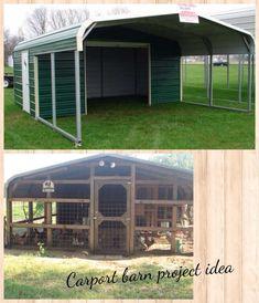 Carport barn, I really like this idea for a Turkey pen. #birdwatchingtips #buildaviary #aviariesideas