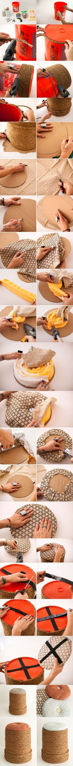 cesto - bordado con cuerda - cocina - baño