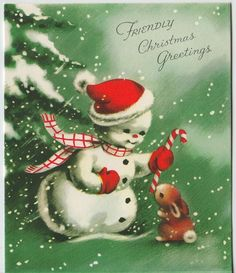 Vintage Greeting Card Christmas Snowman Bunny Rabbit Unused Volland e224