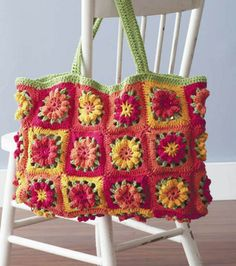 Fruit Punch Tote free crochet purse and bag patterns to download and crochet