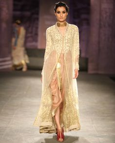 Embroidered Kurta with Dhoti Pants by Anju Modi | India Couture Week - 2014