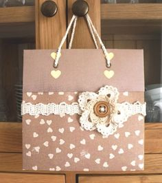 handmade Gift Bag with crochet embellishments