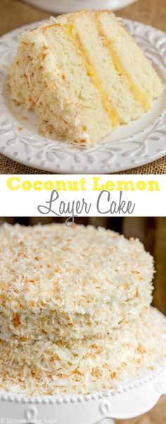 The fluffiest coconut cake filled with homemade lemon curd, topped with tangy coconut cream cheese frosting and covered in toasted coconut.